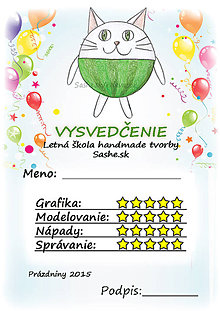 Papiernictvo - Letné vysvedčenie Guľkáči mačka (a balóny) - 5733710_