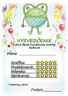 Papiernictvo - Letné vysvedčenie Guľkáči žabka (balóny) - 5733715_