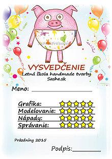Papiernictvo - Letné vysvedčenie Guľkáči prasiatko (a balóny) - 5733720_