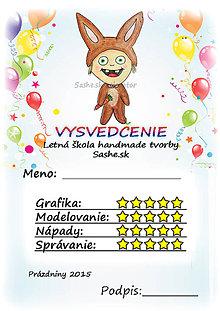 Papiernictvo - Letné vysvedčenie Detské kostýmy a balóny - zajačik - 5733766_