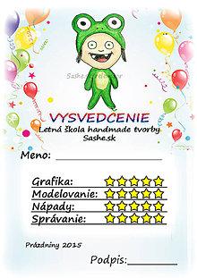 Papiernictvo - Letné vysvedčenie Detské kostýmy a balóny (žabka) - 5733798_