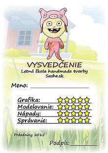 Papiernictvo - Letné vysvedčenie Detské kostýmy - prasiatko - 5733995_