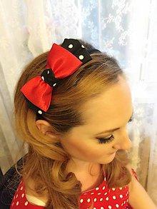 Ozdoby do vlasov - Pin Up headband (black with white dots / red) - 5736441_