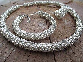 Sady šperkov - elegance bielo-strieborná súprava - 5736094_