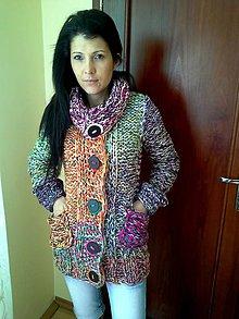 Svetre/Pulóvre - pletený sveter + vsadka - 5736534_
