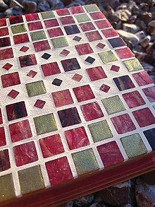 Krabičky - červeno-zlatá šperkovnica s mozaikou - 5739271_