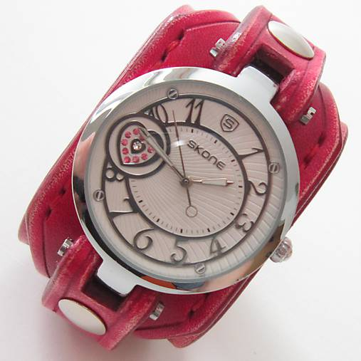 116b1f48d Dámske červené hodinky, pravá koža / leon - SAShE.sk - Handmade Náramky