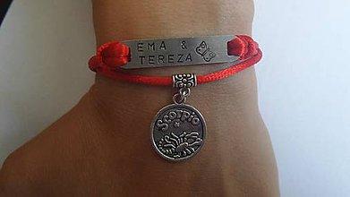 Náramky - náramok s menom a znamením červený - 5737909_