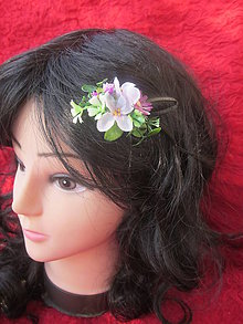 Ozdoby do vlasov - jemná fialkavá spona,pukačka do vlasov - 5738950_
