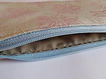 Taštičky - Ľanový peračník s ľaliovou potlačou - ružovo-modrý - 5740621_