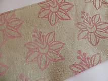 Taštičky - Ľanový peračník s ľaliovou potlačou - ružovo-modrý - 5740624_
