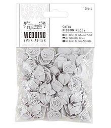 Galantéria - Saténové ružičky 100ks Wedding Ever After - Strieborné - 5740078_