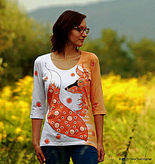 Tričká - Dámske tričko batikované a maľované SKROŤ SI MA - 5739877_