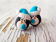 Náušnice - tučniaci so ♥ - napichovačky - 5741884_