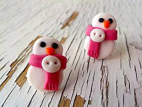 Náušnice - mini snehuliaci so šálikom - 5742049_