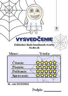 Papiernictvo - Vysvedčenie, ktoré vystraší a poteší (pavučinové - duch) - 5739568_