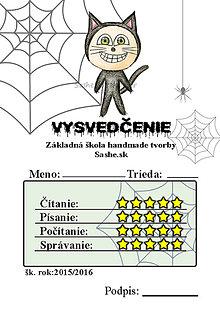 Papiernictvo - Vysvedčenie, ktoré vystraší a poteší (pavučinové - čierna mačka) - 5739578_