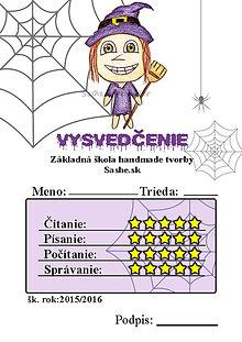 Papiernictvo - Vysvedčenie, ktoré vystraší a poteší (pavučinové - ježibaba) - 5739585_