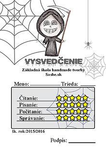 Papiernictvo - Vysvedčenie, ktoré vystraší a poteší (pavučinové - roztomilá smrť) - 5739587_