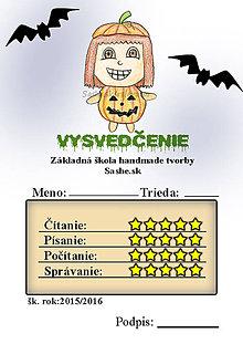 Papiernictvo - Vysvedčenie, ktoré vystraší a poteší (s netopiermi - dyňa) - 5740668_