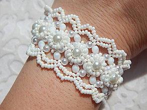 Náramky - Krajkový šitý náramok BRIDE - 5744120_