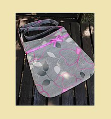 Kabelky - KABELKA - šedá květy - 5745087_