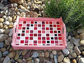 """Nádoby - """"starý"""" ružový podnos s mozaikou - 5745145_"""