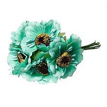 Iný materiál - Textilný kvietok pr. cca 4,5 cm - zelená - 1 zväzok/6 ks(KV-ae-002) - 5745837_