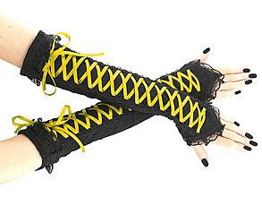 Iné oblečenie - čipkové rukavičky žlto čierné 01S - 5750225_