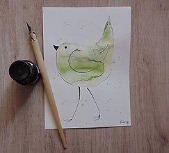 Kresby - Zelený metalický vtáčik II. - 5750313_