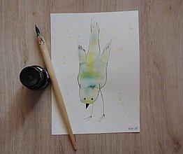 Kresby - Zelený metalický vtáčik I. - 5750324_