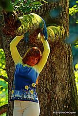 Tričká - Dámske tričko batikované a maľované BABIE NEBO - 5752514_