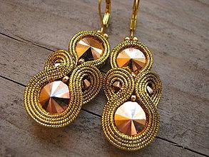 Náušnice - Simple Gold...soutache - 5756087_