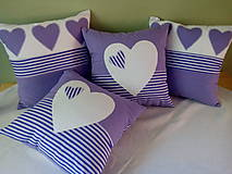 Úžitkový textil - fialová srdiečková kolekcia - 5754594_