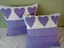 Úžitkový textil - fialová srdiečková kolekcia - 5754598_