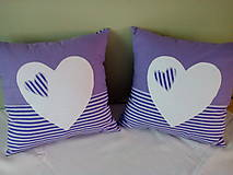 Úžitkový textil - fialová srdiečková kolekcia - 5754600_