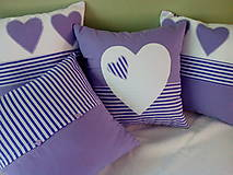 Úžitkový textil - fialová srdiečková kolekcia - 5754601_