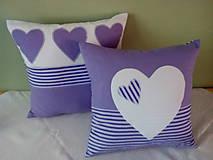 Úžitkový textil - fialová srdiečková kolekcia - 5754604_