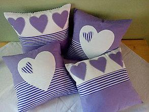 Úžitkový textil - fialová srdiečková kolekcia - 5754591_