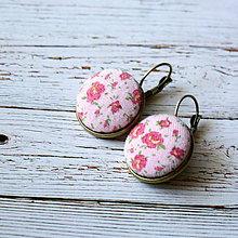 Náušnice - Náušnice na francúzskych háčikoch Ružové kvietky - 5756122_