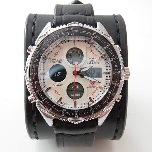 05a1247ba Čierny kožený náramok s hodinkami shark / leon - SAShE.sk - Handmade ...