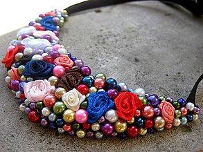 Náhrdelníky - FOR YOU perlový náhrdelník (color roses - náhrdelník č.268) - 5759166_