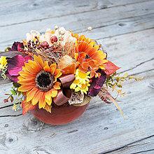Dekorácie - Jesenná kytica so slnečnicami a pivonkou - 5761182_