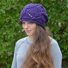 Čiapky - Fialová čapka s ažurovým vzorem - výprodej - 5762770  c62f5c8cf6