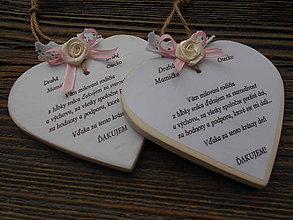 Darčeky pre svadobčanov - veľké srdce / poďakovanie rodičom s kvetinkou - 5763336_