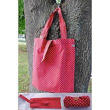 Nákupné tašky - Eko nakupovačka FILKI skladacia (červené srdiečka) - 5760988_