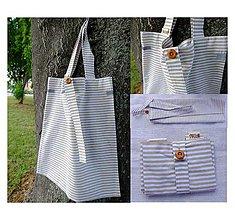 Nákupné tašky - Eko nakupovačka FILKI skladacia (bielo-béžový prúžok) - 5761012_