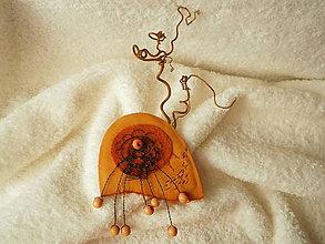 Odznaky/Brošne - Brošňa kožená, vodný kvet oranžový - 5760902_