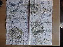 Papier - vtáčik a ruže - 5762684_
