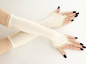 Rukavice - Dámské svadobné ivory rukavice 0025V - 5766581_